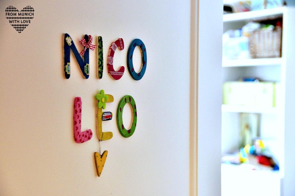 Kindernamen aus Holzbuchstaben Tür