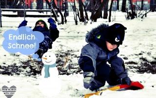 Schnee in München Spielplatz
