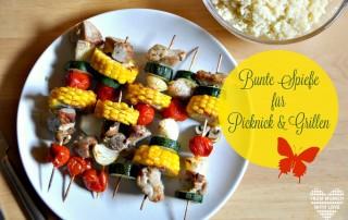 Bunte Spieße für Picknick und Grillen