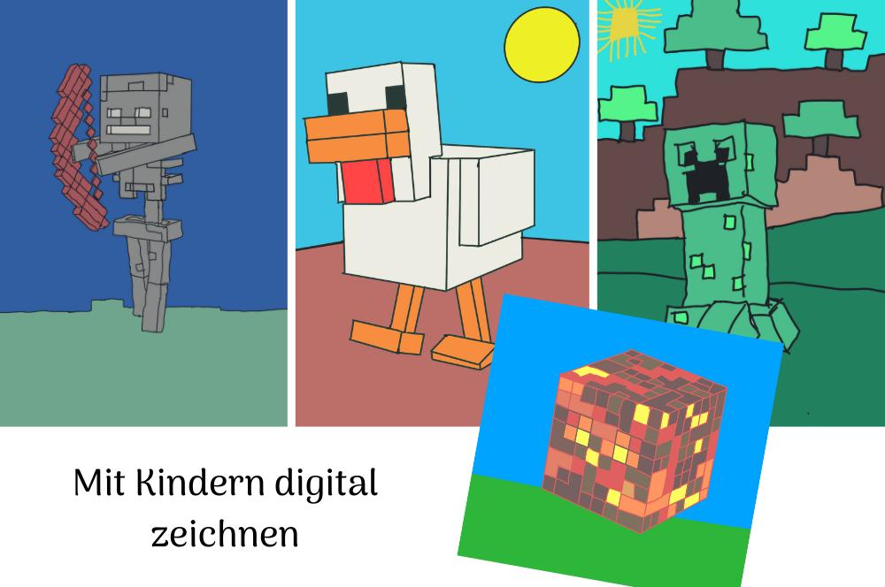 Kinder zeichnen digital